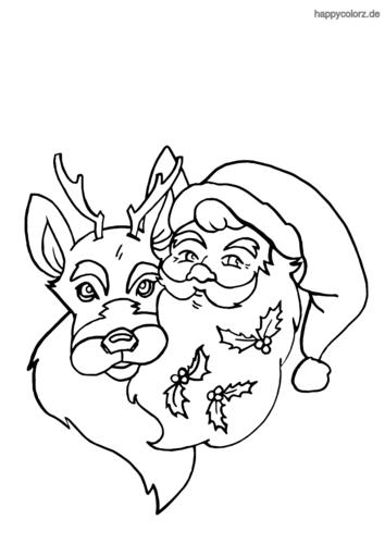 Rentier und Weihnachtsmann Ausmalbild