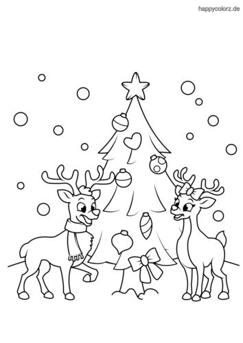 Rentiere und Weihnachtsbaum Ausmalbild
