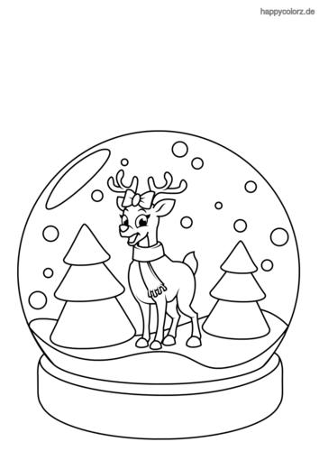 Schneekugel mit Tannenbäumen und Rentier Ausmalbild