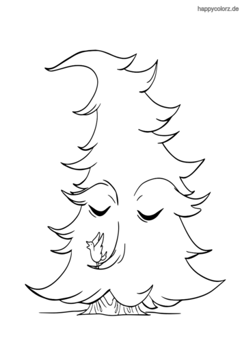 Tannenbaum mit Gesicht und Vogel