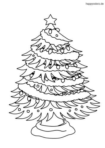Geschmückter Weihnachtsbaum Ausmalbild