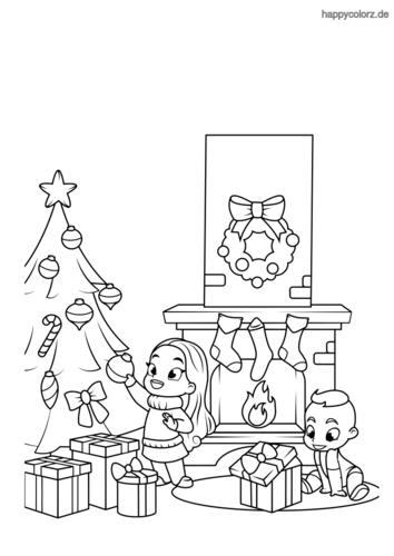 Kinder mit Weihnachtsbaum und Geschenken Ausmalbild