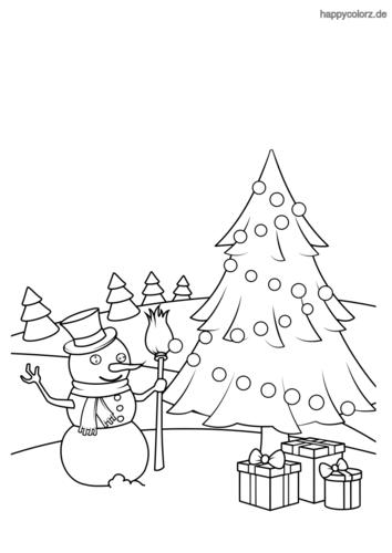 Weihnachtsbaum mit Schneemann Malvorlage