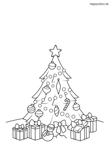 Weihnachtsbaum mit Geschenken und Stern Ausmalbild