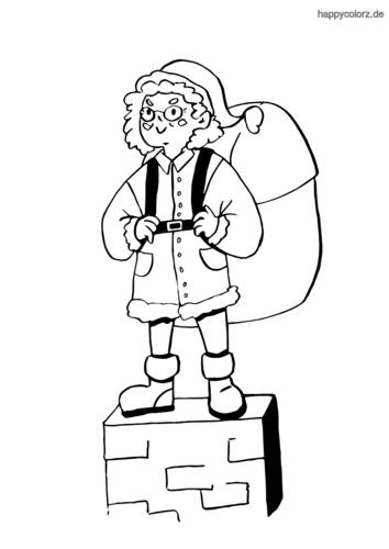 Weihnachtsfrau auf dem Schornstein Malvorlage