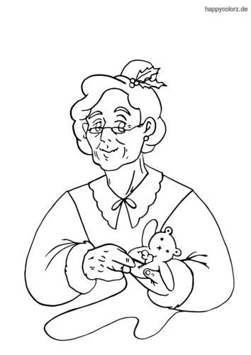 Weihnachtsfrau mit Teddybär Malvorlage