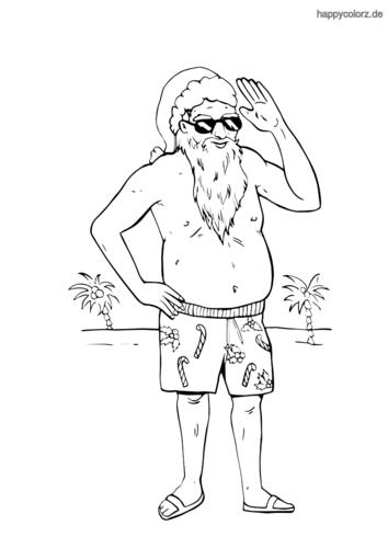 Weihnachtsmann im Sommerurlaub Ausmalbild