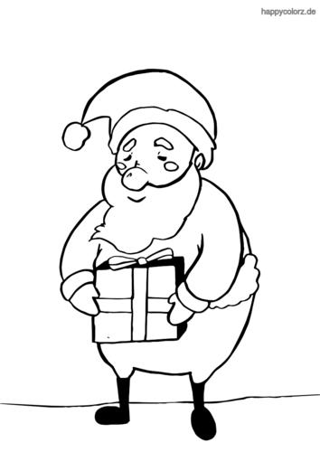 Weihnachtsmann mit Geschenk Malvorlage