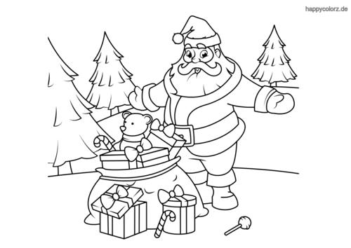 Weihnachtsmann mit Geschenken und Tannenbäumen Malvorlage