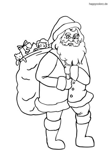 Weihnachtsmann mit Geschenkesack Ausmalbild ausdrucken