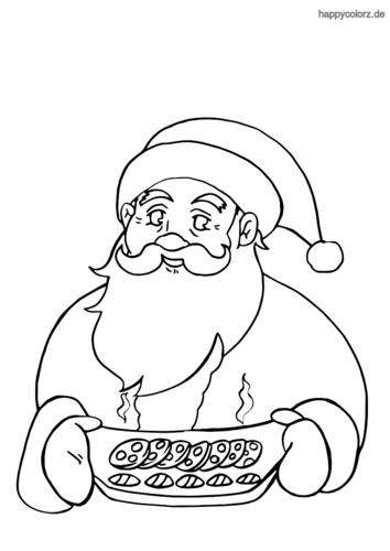 Weihnachtsmann mit Plätzchen Ausmalbild ausdrucken