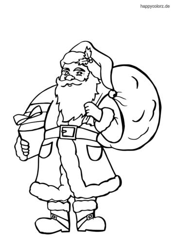 Weihnachtsmann mit vielen Geschenken Ausmalbild ausdrucken