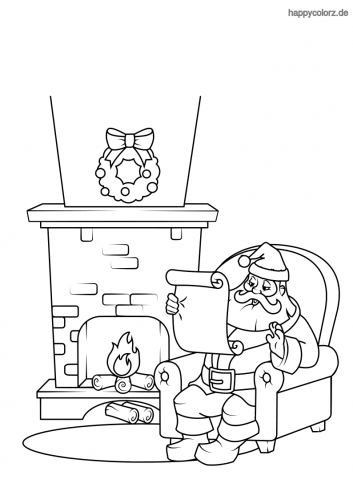 Weihnachtsmann vor dem Kamin Malvorlage